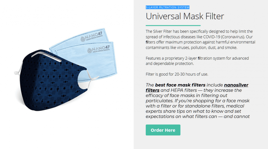 Cloth Face Mask With Colloidal Silver Filters