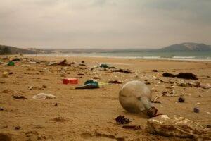 plastics rubbish on beach